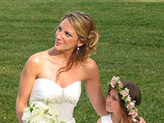 bide and flower girl wedding ceremony